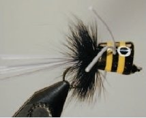 Walt's Bass/Bream Poppers, Black and Yellow Stripes