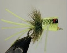 Walt's Bass/Bream Poppers, Chartreuse with Black Fish Scales