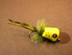 Walt's Panfish Poppers, Chartreuse with Olive Fish Scales